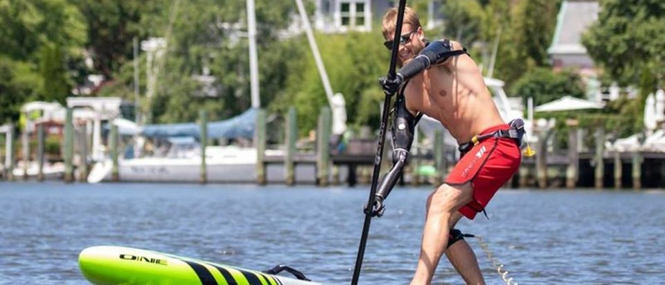 Double Amputee Army Veteran Cody Irons Paddles Out Onto The Water -- Facebook Capital SUP Annapolis -- 6-28-18 (Facebook/Capital SUP Annapolis)