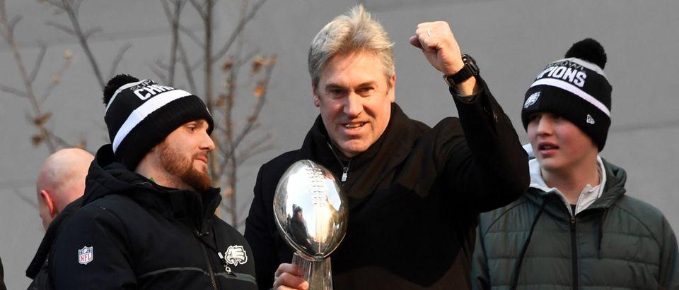 Feb 8, 2018; Philadelphia, PA, USA; Philadelphia Eagles head coach Doug Pederson holds the Lombardi trophy during Super Bowl LII champions parade. Mandatory Credit: Kirby Lee-USA TODAY Sports