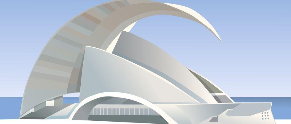 Tenerife Auditorium. Auditorium in Santa Cruz. White building Shutterstock/ Darya Sarakouskaya