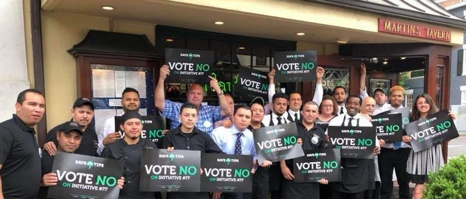 Employees At Martins Tavern stand outside with Vote No On Initiative #77 Signs (Photo Obtained By TheDCNF)
