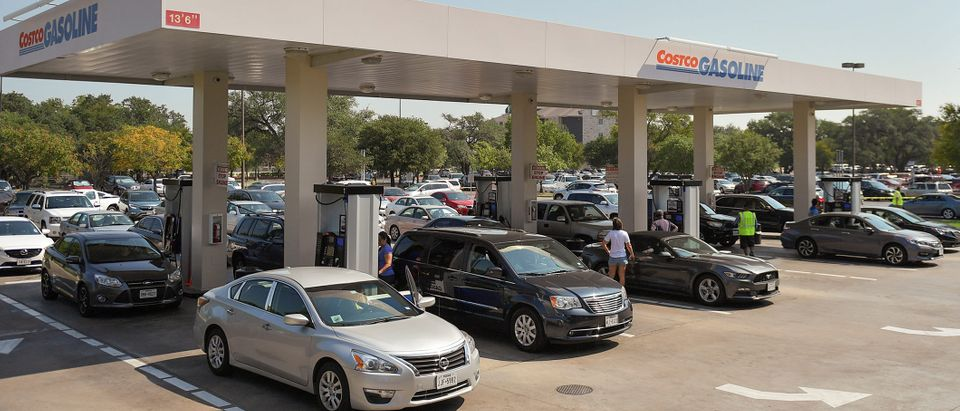 Motorist line-up for gasoline at a Costco gas station in the aftermath of Hurricane Harvey in Cedar Park, Texas