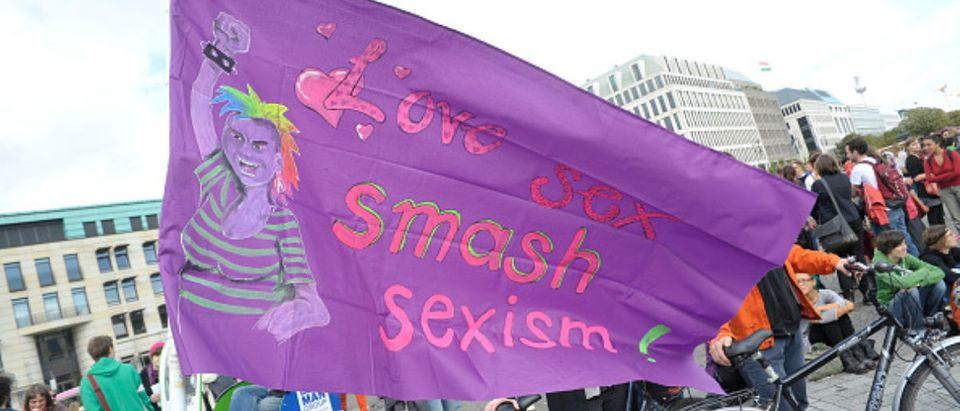 Activists march in the Berlin Slutwalk. (Photo by snapshot-photography/ullstein bild via Getty Images)