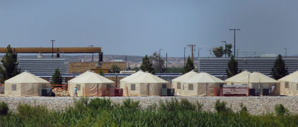View of a temporary detention centre for illegal underage immigrants in Tornillo, Texas, near the Mexico-U.S. border, as seen from Valle de Juarez, in Chihuahua state, Mexico on June 18, 2018. (Photo: HERIKA MARTINEZ/AFP/Getty Images)