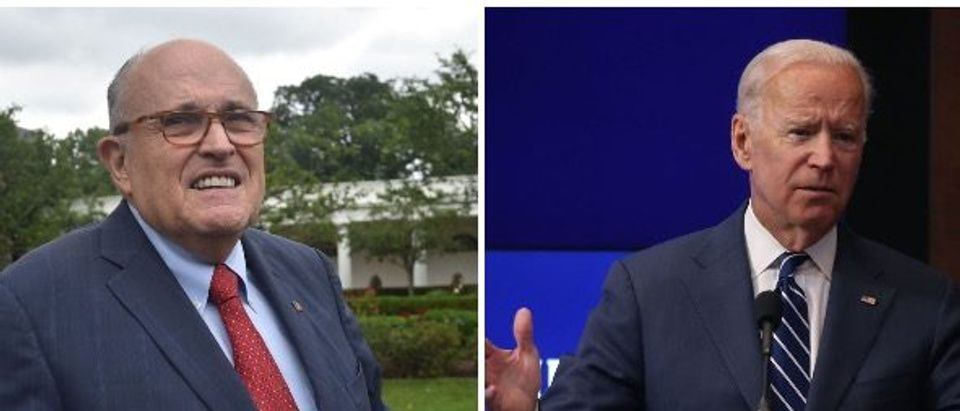 Biden and Giuliani (Left:Photo by Mark Wilson/Getty Images// Right: NICHOLAS KAMM/AFP/Getty Images)