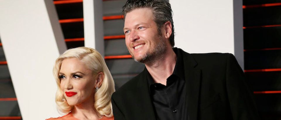Gwen Stefani and Blake Shelton arrive at the Vanity Fair Oscar Party in Beverly Hills