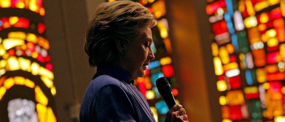 U.S. Democratic presidential nominee Hillary Clinton speaks during services at Mount Olive Baptist Church in Fort Lauderdale