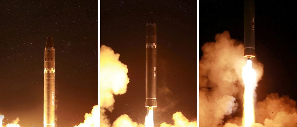 A view of the newly developed intercontinental ballistic rocket Hwasong-15's test was successfully launched