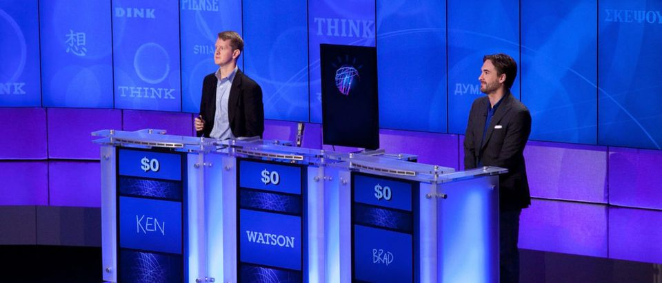 "YORKTOWN HEIGHTS, NY - JANUARY 13: (l-R) Contestants Ken Jennings and Brad Rutter compete against 'Watson' at a press conference to discuss the upcoming Man V. Machine ""Jeopardy!"" competition at the IBM T.J. Watson Research Center on January 13, 2011 in Yorktown Heights, New York. (Photo by Ben Hider/Getty Images)"