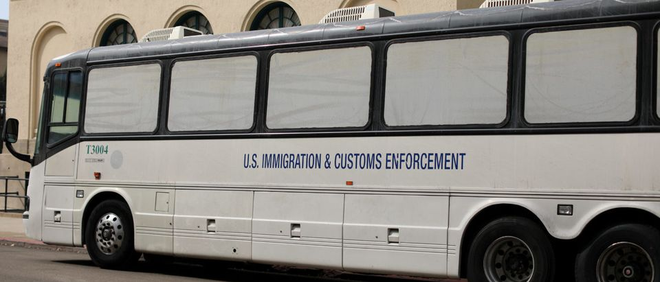 Homeland Security ICE bus is parked outside federal jail in San Diego