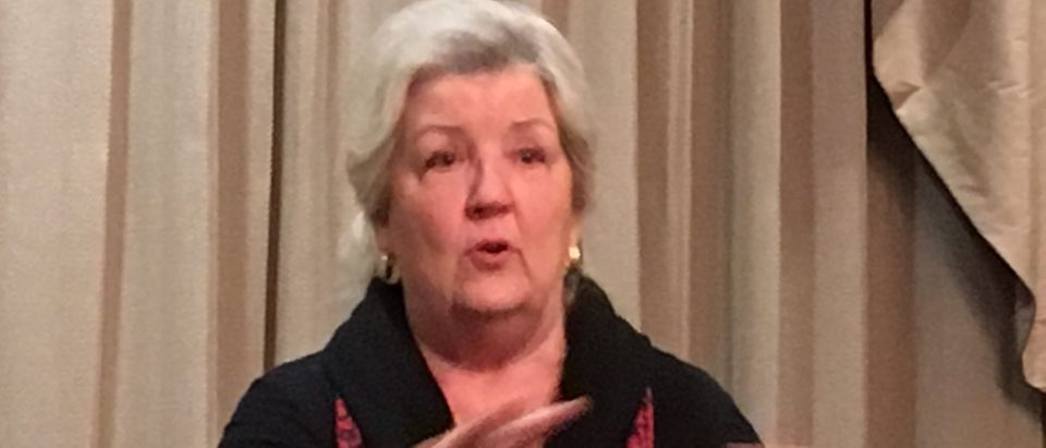 Juanita Broaddrick talks about her book at an event in St. Louis, 2018.
