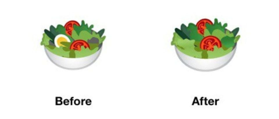 "The before and after images of Google's ""inclusive"" emojis show the company removed the egg to appease vegans. (Image: Twitter screenshot/jenniferdaniel)"