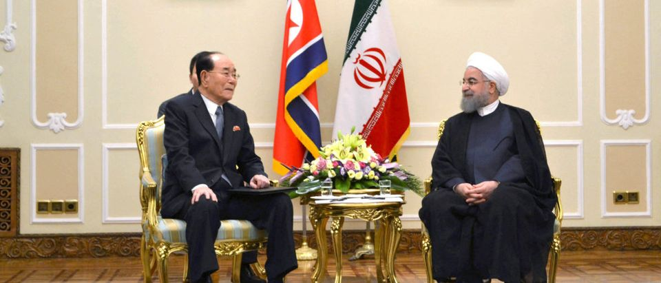 Kim Yong Nam, president of the DPRK Presidium of the Supreme People's Assembly reacts during a meeting with Hassan Rouhani, president of the Islamic Republic of Iran during their meeting in Teheran