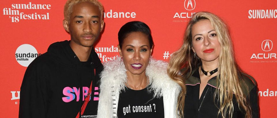 PARK CITY, UT - JANUARY 21: Jaden Smith, Jada Pinkett Smith, and director Crystal Moselle attend the 'Skate Kitchen' Premiere during 2018 Sundance Film Festival at Park City Library on January 21, 2018 in Park City, Utah. (Photo by C Flanigan/FilmMagic)