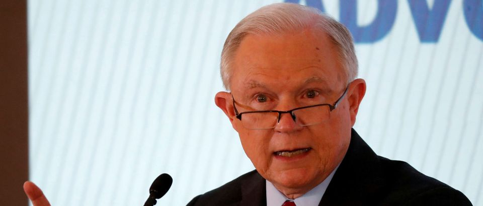 FILE PHOTO: U.S. Attorney General Jeff Sessions discusses a new Justice Department initiative on religious liberty during an event at the Orthodox Union Advocacy Center's Annual Leadership Mission to DC in Washington, U.S., June 13, 2018. REUTERS/Jim Bourg/File Photo