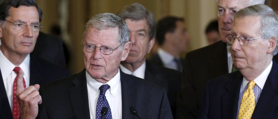 Inhofe joins McConnell and other Republican leaders to address federal highway funding legislation, during a news conference following the weekly Republican caucus policy luncheon at the U.S. Capitol Hill in Washington