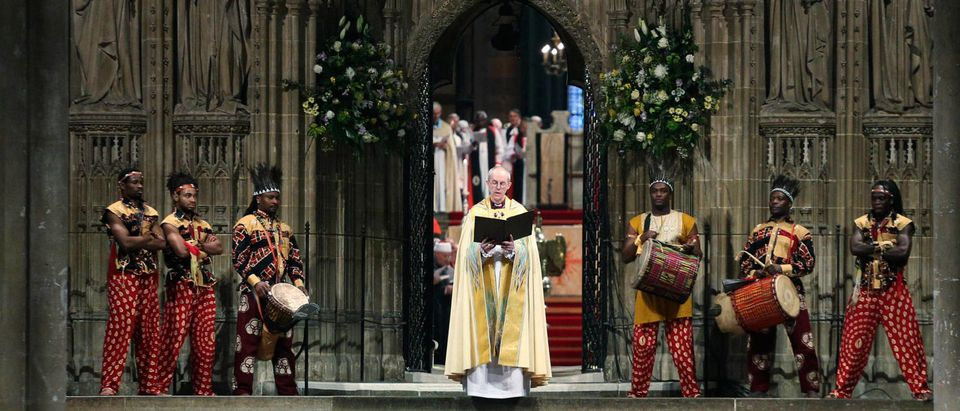 The new Archbishop of Canterbury, Welby, attends his enthronement ceremony at Canterbury Cathedral at Canterbury, southern England