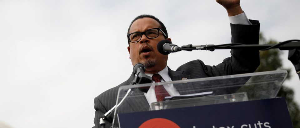 Rep. Keith Ellison, vice chair of the Democratic National Committee, speaks during a rally against the Republican tax bill on Capitol Hill in Washington