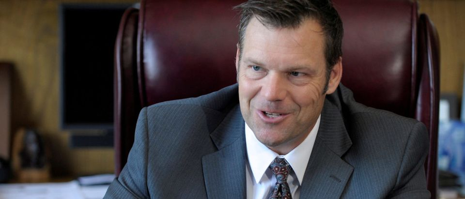 Kansas Secretary of State Kris Kobach talks about the Kansas voter ID law that he pushed to combat what he believes to be rampant voter fraud in the United States in his Topeka, Kansas, U.S., office May 12, 2016. REUTERS/Dave Kaup