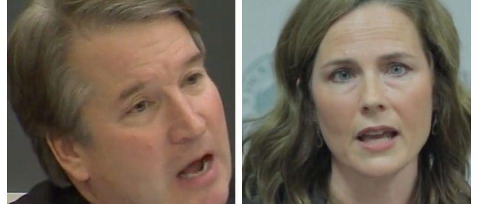 (L) Judge Brett Kavanaugh, (R) Judge Amy Coney Barrett.