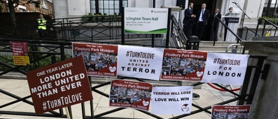 Banners are left on the steps of Islington Town Hall following a commemoration on the anniversary of the Finsbury park attack in London on June 19, 2018. (TOLGA AKMEN/AFP/Getty Images)
