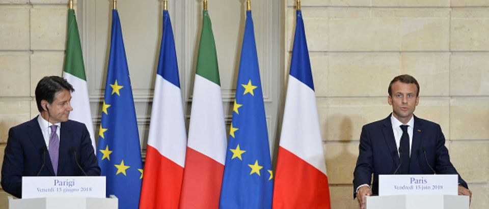 French President Emmanuel Macron Receives Giuseppe Conte, Italy's Prime Minister At Elysee Palace