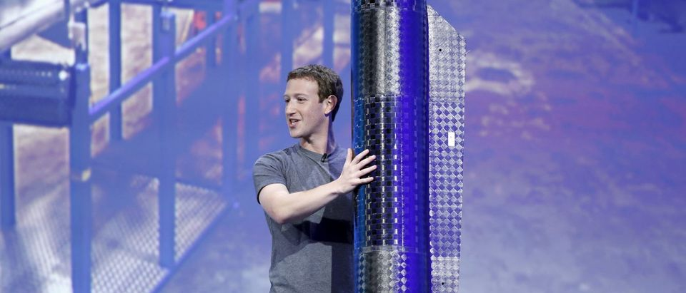 Facebook CEO Mark Zuckerberg holds a propeller pod of the solar-powered Aquila drone during the Facebook F8 conference in San Francisco, California