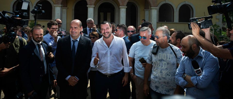 ROME, ITALY - JUNE 21: Italian Interior Minister Matteo Salvini (C) and President of Lazio region, Nicola Zingaretti visit a house confiscated from Casamonica clan for Mafia crimes on June 21, 2018 in Rome, Italy. In recent days Casamonica members threatened Interior Minister Matteo Salvini, after announcing that he wanted to make a census of the Roma community. (Photo by Antonio Masiello/Getty Images)