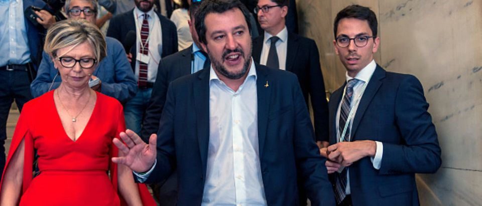 ROME, ITALY - JUNE 13: Italy's Interior Minister and deputy PM Matteo Salvini leaves after a meeting with the Italian Confesercenti ( Association of commercial businesses ) on June 13, 2018 in Rome, Italy. (Photo by Stefano Montesi - Corbis via Getty Images)