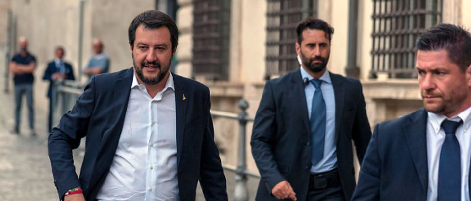 Italian Interior Minister Matteo Salvini enters Palazzo Chigi for the Council of Ministers on June 7, 2018 in Rome, Italy. (Photo by Stefano Montesi - Corbis/Getty Images)