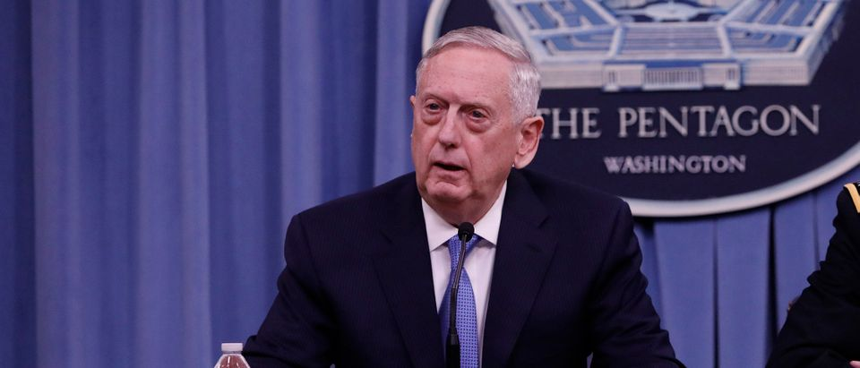 Defense Secretary James Mattis speaks at a press conference at the Pentagon April 11, 2017 in Washington, D.C. (Photo by Aaron P. Bernstein/Getty Images)