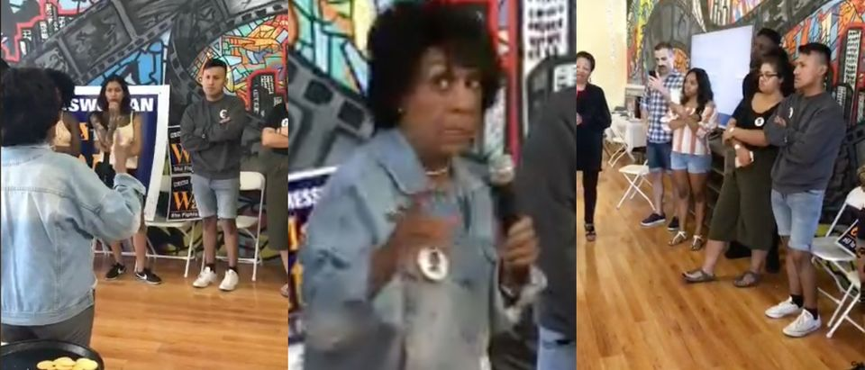 """Democratic Rep. Maxine Waters hosts a """"Meet & Greet Tweet-A-Thon"""" with a handful of supporters. (Photo: Screenshot/Twitter/Maxine Waters)"""