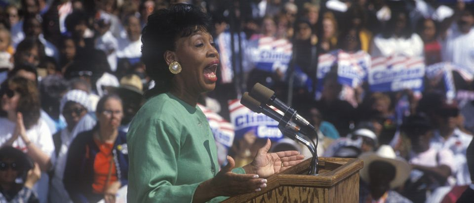 Congresswoman Maxine Waters addresses crowd at the Maxine Waters Employment Preparation Center during a 1992 Clinton/Gore campaign rally in So. Central, LA (Media Credit Joseph Sohm/Shutterstock)