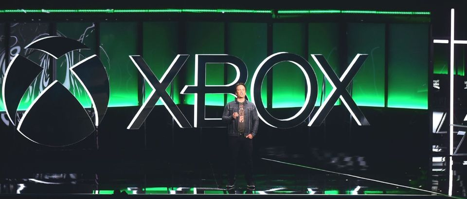 Phil Spencer, Executive President of Gaming at Microsoft, addresses the audience at the Xbox 2018 E3 briefing in Los Angeles, California on June 10, 2018, ahead of the 24th Electronic Entertainment Expo which opens on June 12. (Photo by Frederic J. BROWN / AFP / Getty Images)