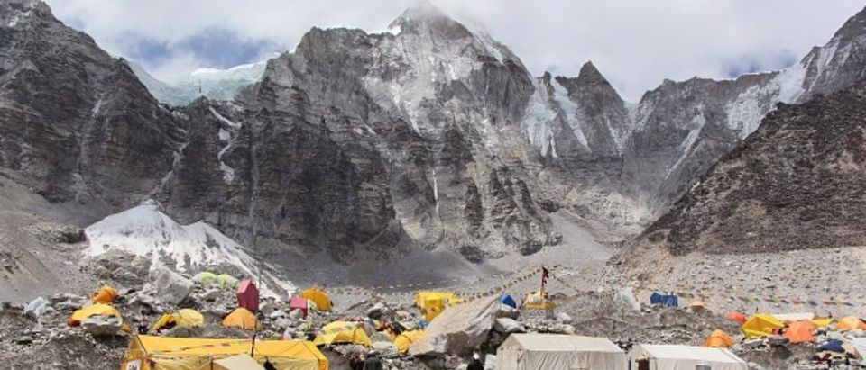 File photo taken in May 2013 shows tents set up on a glacier at a base camp of Mt. Everest in Nepal. (Kyodo) ==Kyodo (Photo by Kyodo News via Getty Images)