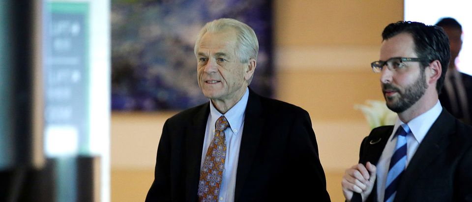 White House trade and manufacturing adviser Peter Navarro, a member of the U.S. trade delegation to China, leaves a hotel in Beijing