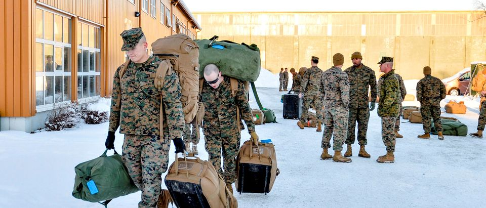 FILE PHOTO: U.S. Marines, who are to attend a six-month training to learn about winter warfare, arrive in Stjordal