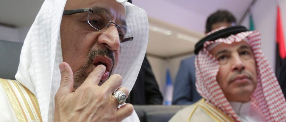 Saudi Arabia's Oil Minister al-Falih talks to journalists at the beginning of an OPEC meeting in Vienna
