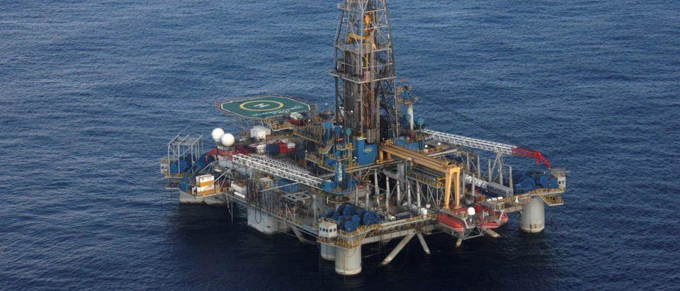 The Homer Ferrington gas drilling rigis seen during President Demetris Christofias' visit in the east Mediterranean, Nicosia