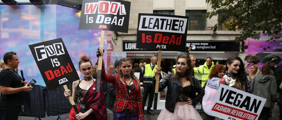 Models hold placards as they demonstrate against the use of fur and leather in clothing at a protest organised by PETA at London Fashion Week Spring/Summer 2017 in London
