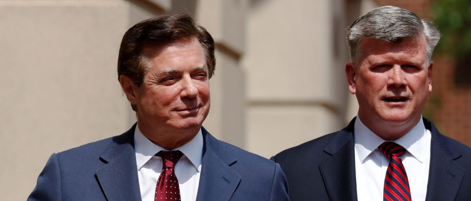 President Trump's former campaign manager Paul Manafort (L) and his attorney Kevin Downing depart U.S. District Court after a motions hearing in Alexandria, Virginia, U.S. May 4, 2018. REUTERS/Jonathan Ernst