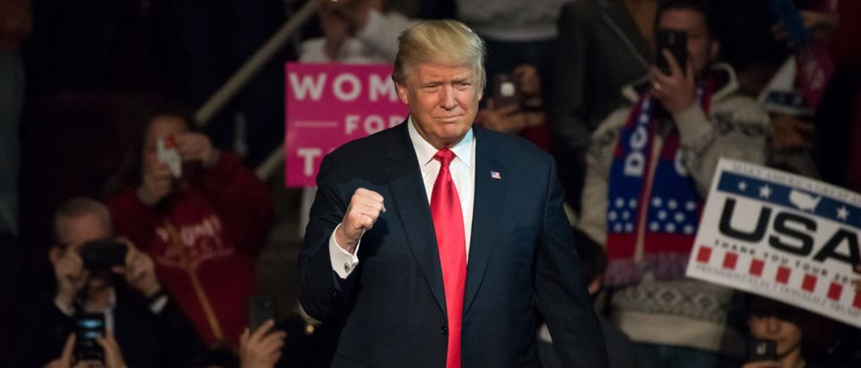 President-Elect Donald Trump gives a Fist Pump to the crowd as he arrives on stage to deliver a speech at a Thank You Tour rally at the Giant Center - ShutterStock - Evan El-Amin