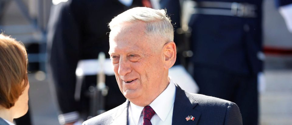 U.S. Defense Secretary James Mattis shakes hands with Florence Parly, France's minister of the Armed Forces, before their meeting at the Pentagon in Arlington