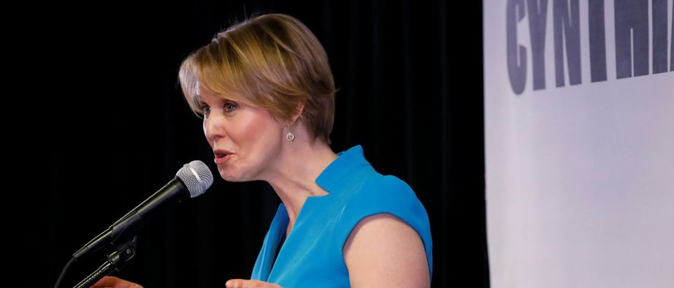 Actress Cynthia Nixon speaks during her announcement that she is running for Governor of New York in Brooklyn, New York, U.S., March 20, 2018. REUTERS/Shannon Stapleton -