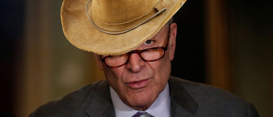 Chuck Schumer wearing cowboy hat, Reuters and Shutetrstock/ by Leah Millis and By Filip Fuxa