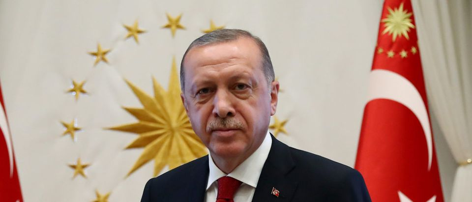 Turkish President Tayyip Erdogan meets with Nationalist Movement Party (MHP) leader Devlet Bahceli in Ankara, Turkey, June 27, 2018. Kayhan Ozer/Presidential Palace/Handout