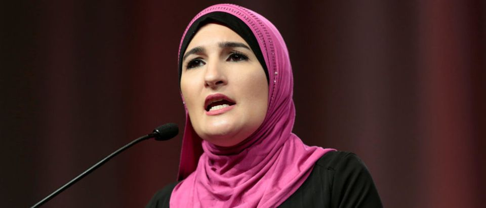 Sarsour, National Co-Chair Women's March, addresses the audience during Women's Convention in Detroit