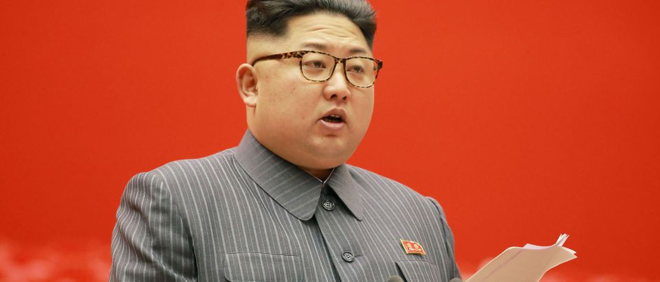 North Korean leader Kim Jong-un gives opening remarks at the 5th Conference of Cell Chairpersons of the Workers' Party of Korea