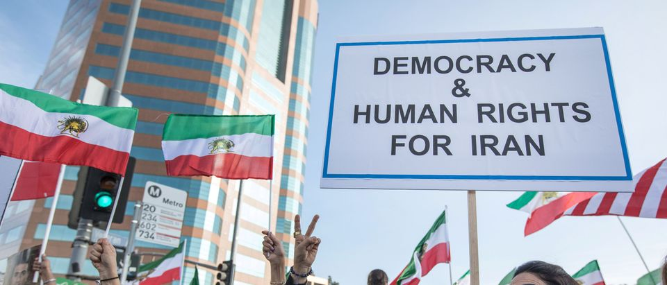 People rally in support of Iranian anti-government protests in Los Angeles