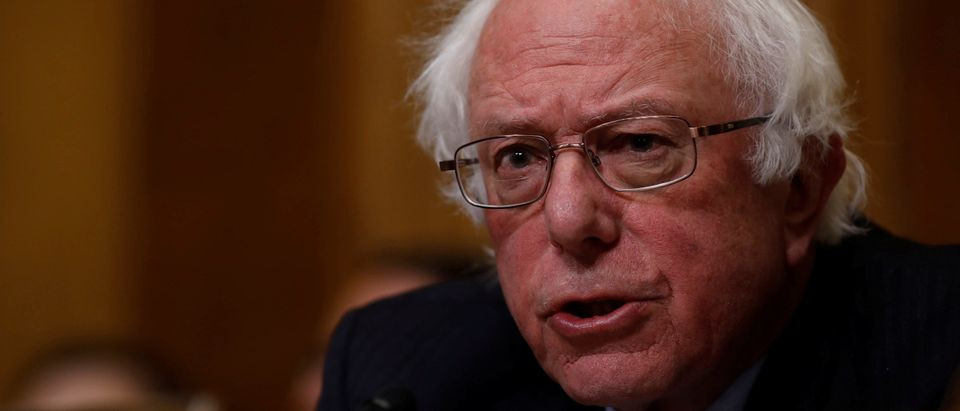 Former presidential candidate Bernie Sanders speaks before Office of Management and Budget Director Mick Mulvaney testifies about the President's 2019 budget before the Senate Budget Committee on Capitol Hill in Washington, U.S., February 13, 2018. REUTERS/Aaron P. Bernstein - RC1DECBEE7F0