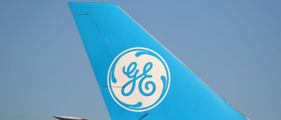 A logo is seen on a General Electric (GE.N) Propulsion Test Platform plane near Victorville